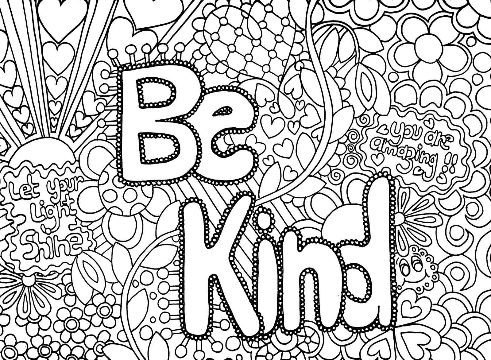 Coloring pages kindness - Be Kind Adult Coloring Page Acts Of Kindness Coloring Pages Info On Kindness Coloring Pages Free